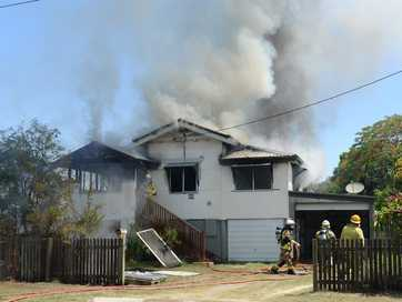 For the second time this week firefighters have been called to a house fire in Rockhampton.   Photos CHRIS ISON