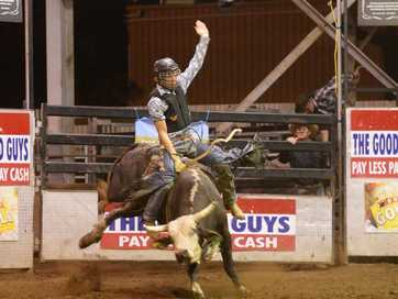 Action from the final Young Guns Rodeo for 2013 held at the Great Western Hotel on Friday night.   Photos CHRIS ISON
