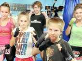 DON'T BE FOOLED: (L-R) Taleah Delfs, 14, Charlie Merrett, 13, Dallas Dean, 15, Max Merrett, 11, and Tarley Leahey, 14 from the Street Smart Thai Boxing Centre.