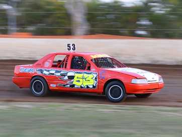 Action from Saturday night's speedway at the Rockhampton Showgrounds.  Photos CHRIS ISON