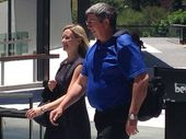 Volunteer jet-ski operator Brian Lewis leaving Brisbane Magistrates Court after going evidence at the coronial inquest into the death of Matthew Barclay.