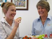 Courtney Green and Ruth Logan try out some healthy Christmas treats.