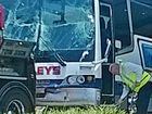 ABOUT 50 Gympie students were trapped and four of them taken to hospital, after a double bus crash south of Brisbane yesterday.