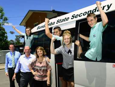 FAST LANE: Bundamba State Secondary College principal Andrew Peach, David Gibson of Llewellyn Motors, and Bundamba State Secondary College business service manager Janeece Fynes-Clinton, and students, Amanda Girling, Tyrone Ropati, Charlotte Faranda, and Connor Evers.