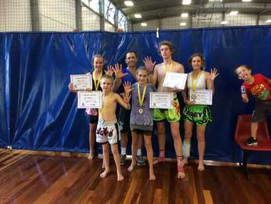 Street Smart Thai Boxing Centre's Taleah Delfs, Max Merrett, Craig Glover (coach), Charlie Merrett, Dallas Dean and Tarley Leahey have made the Australian team for the world junior Muay Thai championships next year.