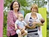 CELEBRATION TIME: Teresa Walsh and Hazel Mastin, from My Midwives Ipswich, with Carter Gemmell and Benson Leese.