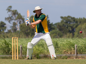 EYES ON THE BALL: Proserpine batsman Scott Hunter prepares to play a cut shot against Bowen.