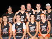 CHAMPIONS: Steve Ringelstein, Scott Gerrand, Nick Wellard, Clifford Swift, Dave Fry (back), Lea Piccinelli, Dom Cross, Shannon Piccinelli and Danni Ashley (front) from B grade champions Wolves.
