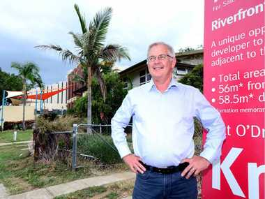 CULTURAL: Agent Pat O'Driscoll on the site of a new development on Victoria Parade set to become a great addition to the theatre and cultural precinct of Rockhampton.