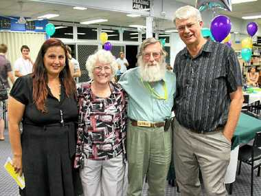 THANKS MR FIFOOT: Retiring Lockyer District High School teacher Bob Fifoot was shocked with a special surprise going-away party on Friday night. Bob is Pictured with school staff member Chantal Revell, his wife Annette and former student Murray Wright.