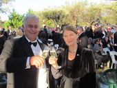 CHEERS: Angelo Puglisi of Ballandean Estate Winery with Queensland Governor Penelope Wensley AC at the 2012 Opera in the Vineyard.