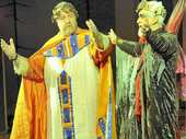 IN COSTUME: Paul Tully as an envoy (left) and Ray Davis as Herod rehearse for the Christmas Spectacular.