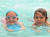 SAFETY FIRST: Gabrielle Liset, Bodhi Thompson and Lewis Winterbone learning the basics at Moffat Beach Swim School.