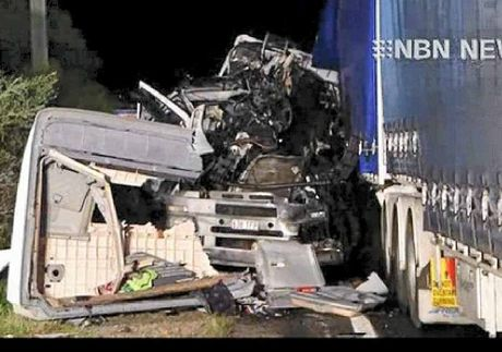 DESTROYED: What was left of the truck cabin after the crash.  Photo: Courtesy of NBN News