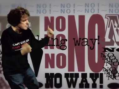 Leo Sayer in his video clip to the song No Fracking Way