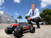 JAYCAR manager Matt Phillips takes a RC Monster Truck for a spin. Photo: Chris Ison / The Morning Bulletin