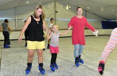 Out and About Ice Skating at the GECC - Elaina Riebe, Jacinta Riebe, 5, and Simone Henderson.