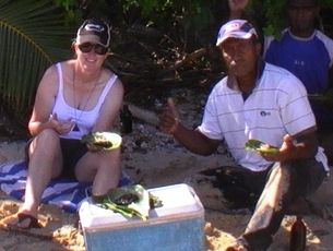 Mrs austrin on holiday in fiji eating the fish she believes made her