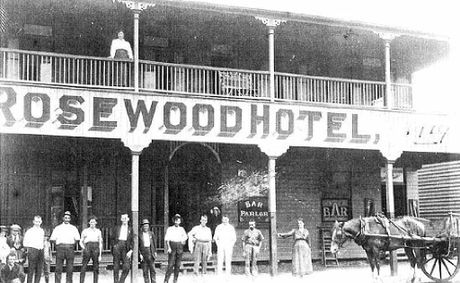 HAUNTING: The woman believed to be the famous lady ghost of the Rosewood Hotel on the top floor veranda.