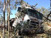 <strong>UPDATE 3.17PM:</strong> A 63-year-old truck driver was able to walk away from the cabin of a B-Double that rolled on the Gore Hwy near Pittsworth.