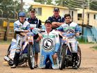 Joel Coyne (far right) with fellow rider Rohan Tungate and sponsors John Lennon, Craig Hyde (front) and father Rodney Coyne.