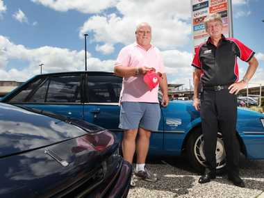 President of the HSV owners club Queensland Les Gray with HSV member Mark Evans. Photo Inga Williams / The Reporter