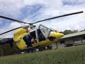 A TEENAGE girl suffering an asthma attack has been flown off Fraser Island on Friday morning by the Bundaberg-based RACQ CareFlight Rescue helicopter.