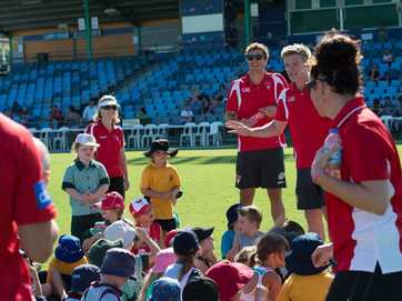 The Sydney Swans held an AFL superclinic for kids aged 5 to 12 at C.ex Coffs International Stadium on Thursday afternoon.