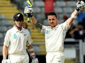 AN UNBEATEN 143 off 210 balls by skipper Brendon McCullum helped New Zealand reach 4/329 on day one of the first Test against India in Auckland yesterday.