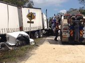 A B-double truck has crashed on the Bruce Hwy about 5-6km north of Maryborough.