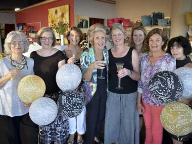 Zara's Shoes celebrating 25 years in business: owners Pam Kinloch and Marg Howard pictured centre with their staff.