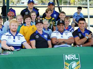 Canterbury Bulldogs fans rolled up to Maryborough's Eskdale Park on Monday to meet players Josh Morris, James Graham Tim Lafai, Harlan Alaalatoa, Damien Cook and David Minute.