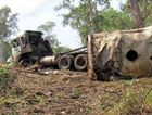 The wreckage of Matt Trusz's semi-trailer after the 2011 crash on the Bruce Hwy south of Ilbilbie.