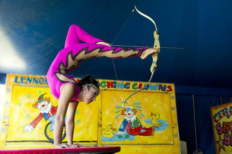 Hand balancing contortionist Keira Valencia performs with the Lennon Bros Circus in Queens Park.