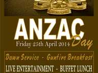 Surfers Paradise RSL Sub Branch welcome you to our Anzac Day Memorial Services & Celebrations at Surfers Paradise RSL. Friday 25th April 2014.