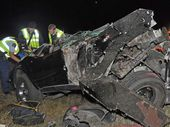 A MAN is dead after the car he was in crashed so violently that the engine was thrown 10 metres from the vehicle.