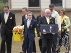 A YELLOW coffin adorned by a yellow SpongeBob SquarePants and flowers farewelled bright-eyed Luke Batty in front of hundreds of family and friends on Friday.