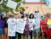 SIGNS OF DISAPPROVAL: Protesters gather at the front gates of the Stardust Circus at Lismore Showgrounds.