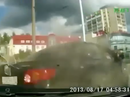 Dashcam captures close call for pedestrians