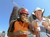 FOR these builders it's out with the pies and sausage rolls and in with the fresh and healthy alternatives.