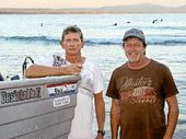 ALL ABOARD: Byron Bay Deep Sea Fishing Club member Robert Woolcott and secretary Dan Bode.