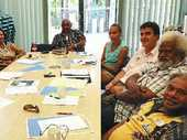PRESERVING THE PAST: Traditional owners at the recent TORG meeting in Mackay. Clockwise from left are Carol Prior, Sue West, Bernie Tonga, Jordan Miller, Reef Catchments' John Franklin, Gary Mooney and George Tonga.