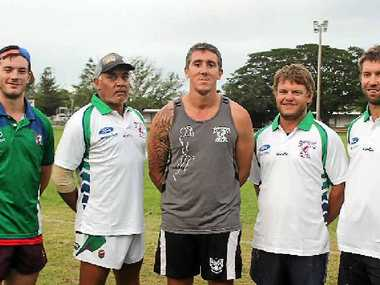 BRAHMANS COACHES: Proserpine Whitsunday Brahmans under-18s co-coaches Callum Wilkinson and Billy Boyd, A grade coach Anthony Blackwood, reserves coach Hugh Middleton and strength and condtitioning coach Karl Telford are ready to lead the Brahmans in their 2014 season.