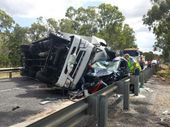 THE truck driver involved in the serious traffic crash just south of Raglan at the Hut Creek Bridge on the Bruce Hwy on Thursday remains hospitalised.