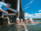 Preview to jetty swim coffs harbour. Pic ANZ team members left Wayne Edwards ( Regional executive) and swimmers Nic Korn, Josh Innes, Lois Crossley and Chris Cook. PHOTO: TREVOR VEALE / COFFS COAST ADVOCATE