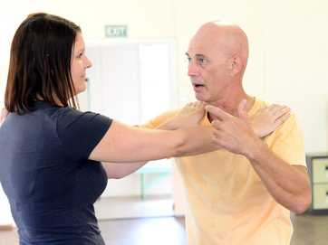 Morning Bulletin journos get shown a few tips in self-defence with expert Doug Swain.