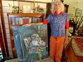 COVER STORY: John Opit at his Limpinwood home this week with the recovered painting. Photo: Nolan Verheij-Full