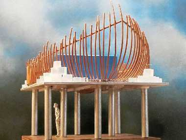 LAND AHOY: A model of the boat sculpture planned for Woodlark St, which has been delayed for three years due to installation issues.