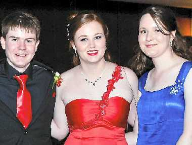 Kelsee Arnott (in red) at the Emmaus College 2012 graduation formal.