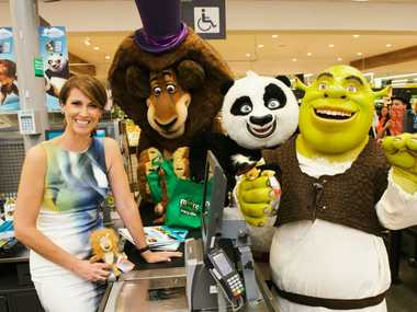 Natalie Barr and the characters from Dreamworks have teamed up with Woolies for this year's collectable cards for kids.